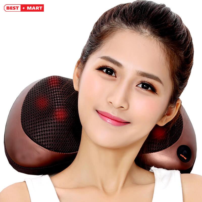 gối massage hồng ngoại 6 bi cao cấp