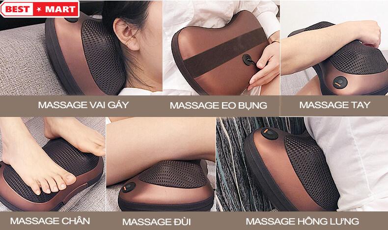 gối massage hồng ngoại magic 6 bi
